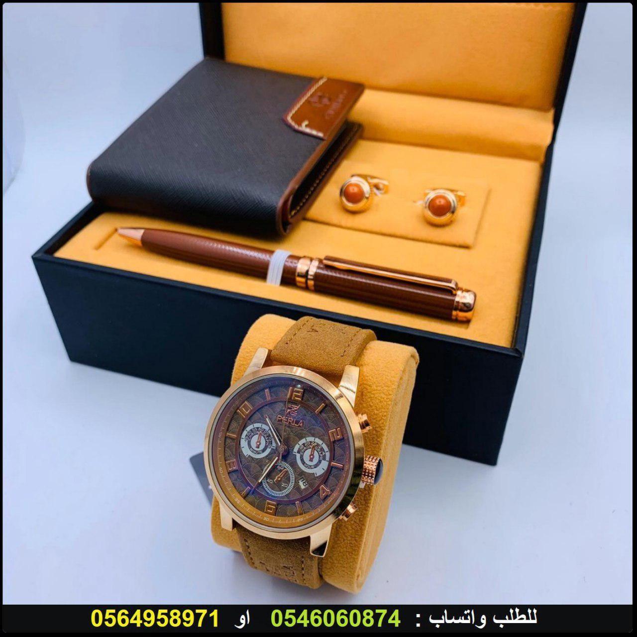 ساعات رجاليه 2020 طقم فخم مع سواره و قلم وكبك وعلبة فخمه هدايا هنوف Leather Watch Leather Accessories