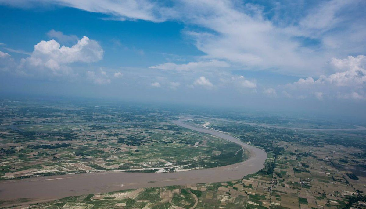 Flying over river Ghaghara during my flight from Lucknow to Motipur Kala village, district Shravasti.