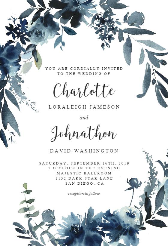 Indigo Flowers Wedding Invitation Template (free