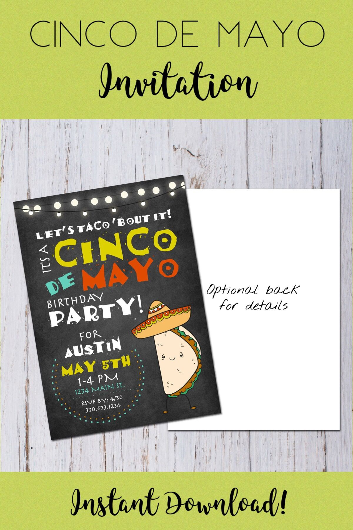 cinco de mayo birthday party invitation fiesta birthday invitation