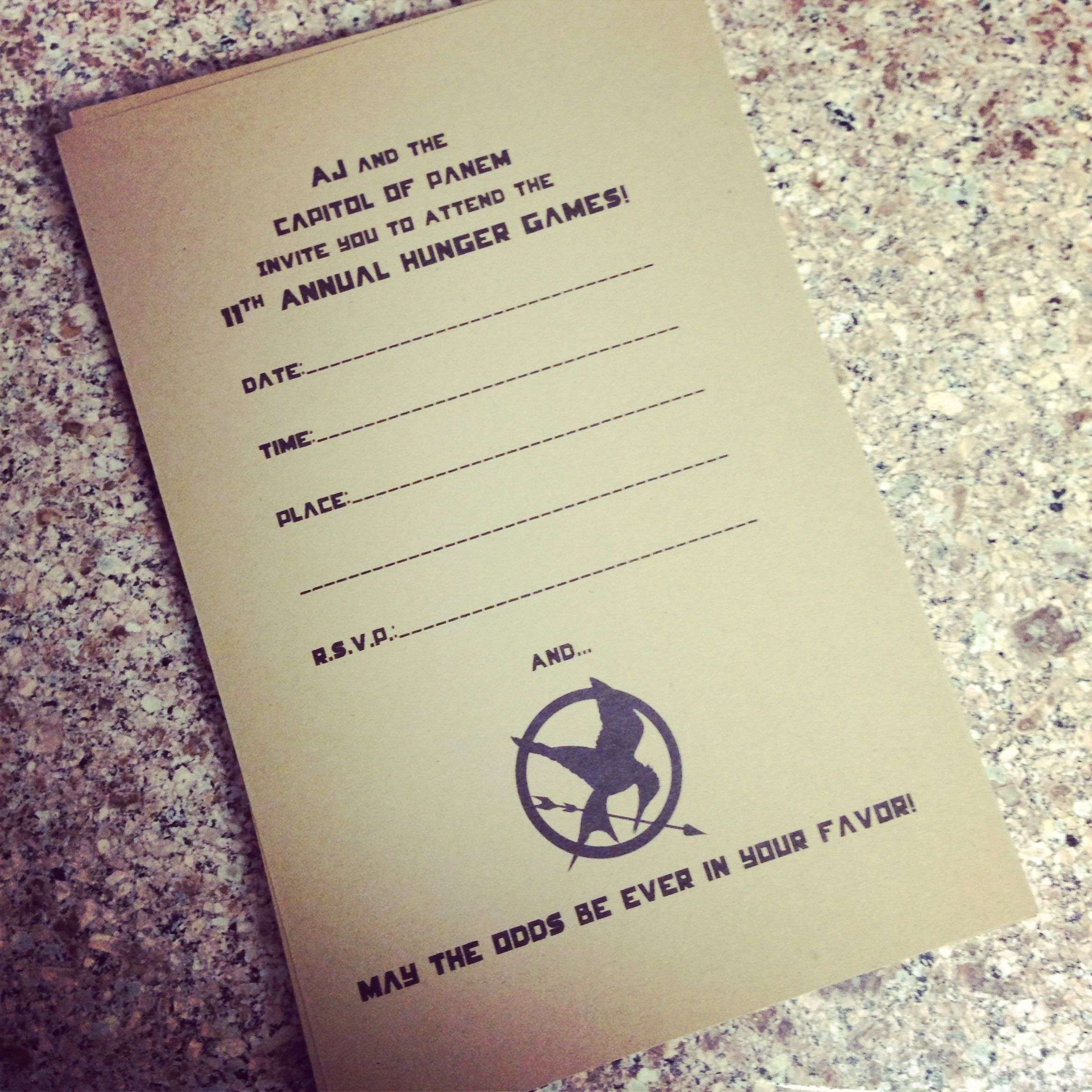 I made AJ these Hunger Games party invites for his th He LOVES
