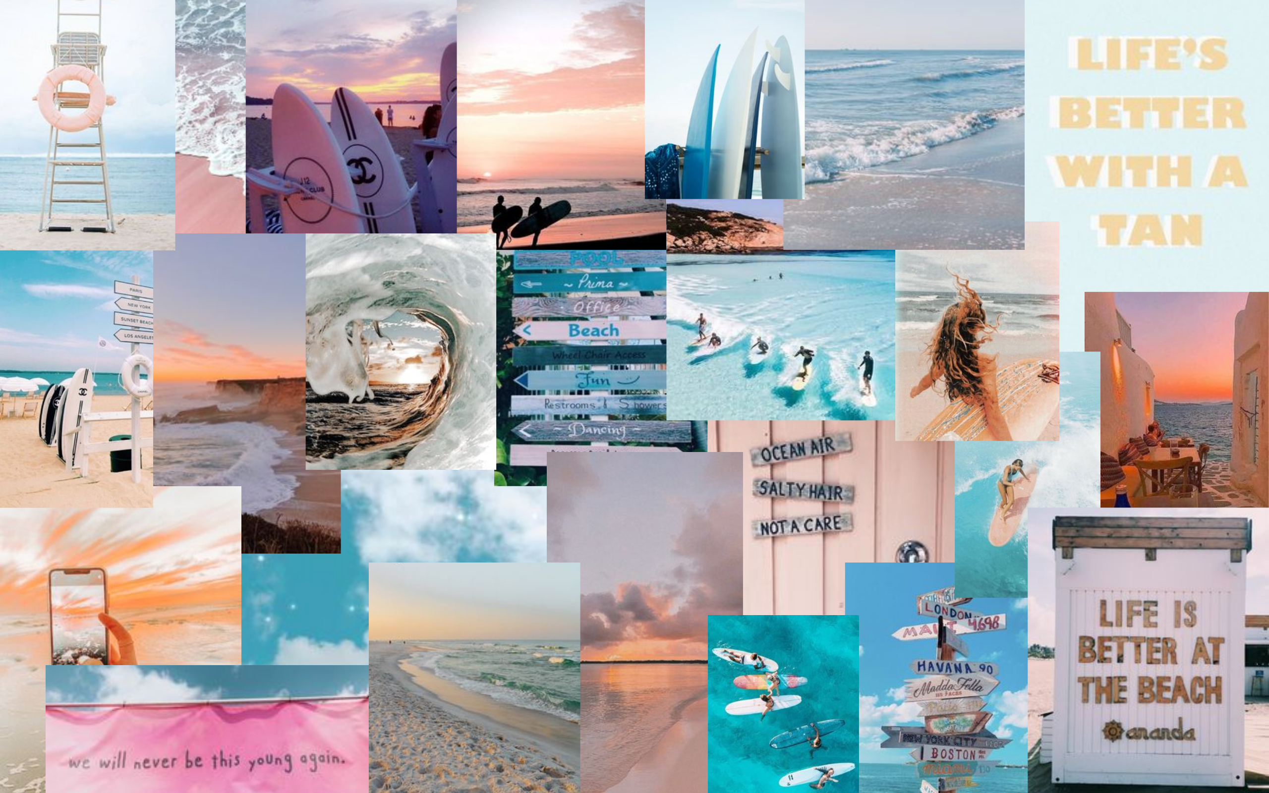 Beachy Surf Collage Collage Background Cute Wallpapers Laptop Wallpaper