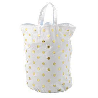 Bloomingville pyykkikori pilkullinen valkoinen-kulta