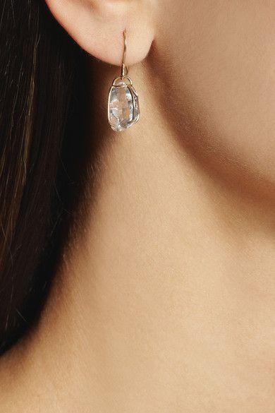 Melissa Joy Manning 14 Karat Gold Herkimer Diamond Earrings