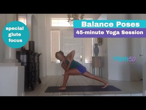 45 min flow yoga with balance poses for glutes  women's