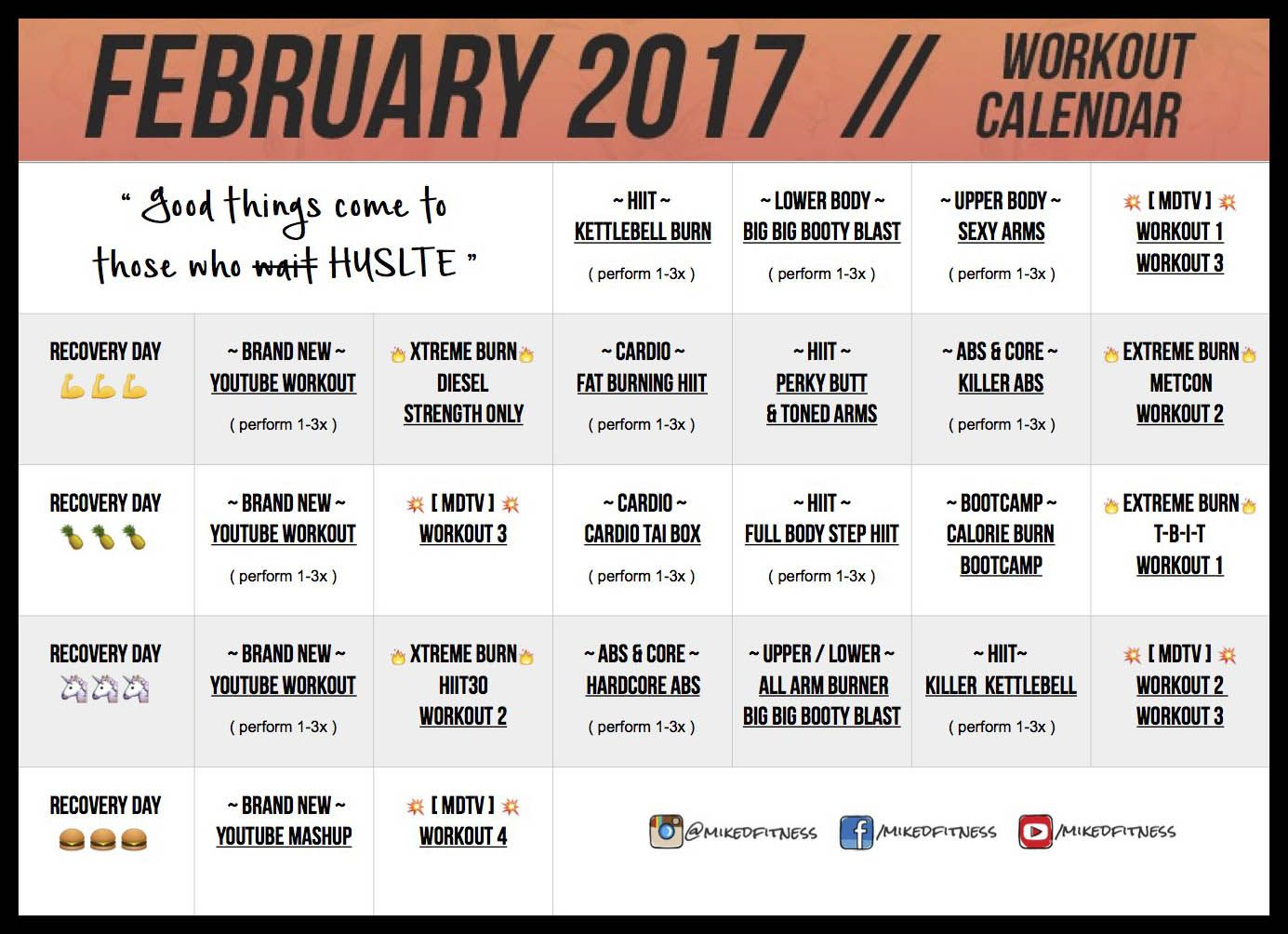 February   Workout Calendar  Mike Donavanik  Fit Body