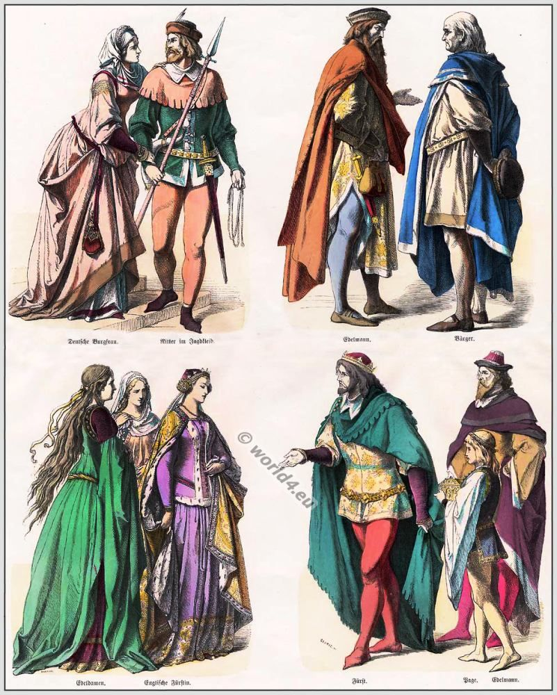 Middle Ages Costumes And Fashion Period Between 700 To 15th Century Style Of Byzantine Carolingian Romanesque Gothic Renaissance