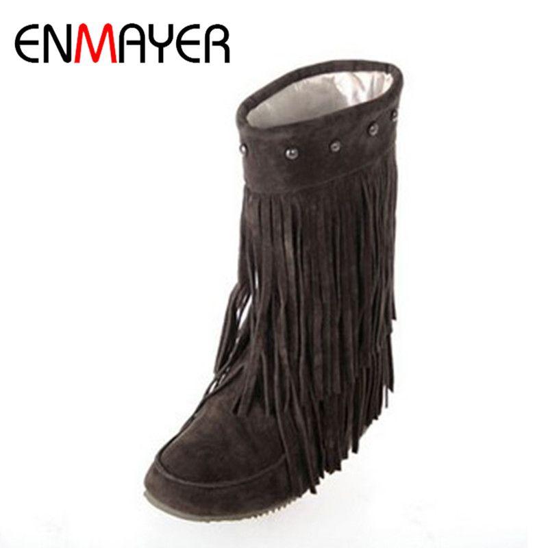 Mid 3 Flat Heel Fringe Round Women's Tassels Layer Toe Enmayer Boots 6SBTqw