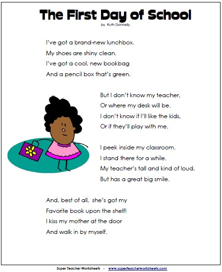 first day of school poem  backtoschool  super teacher worksheets  first day of school poem