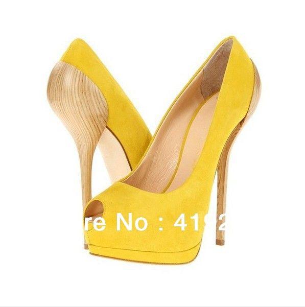Light Yellow Shoes Woman High Heel Open Toe Gold Chain Heels Pumps Women