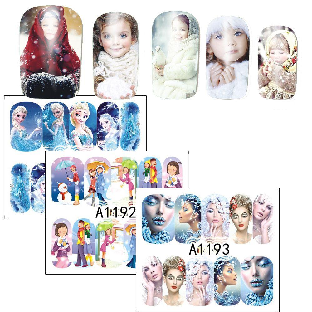 1 Vellen Nail Art Water Transfer Sticker Volledige Cover Decals Winter Schoonheid Dame Meisje Bevroren Ontwerp Stickers Wrap Tips SAA1189-1200