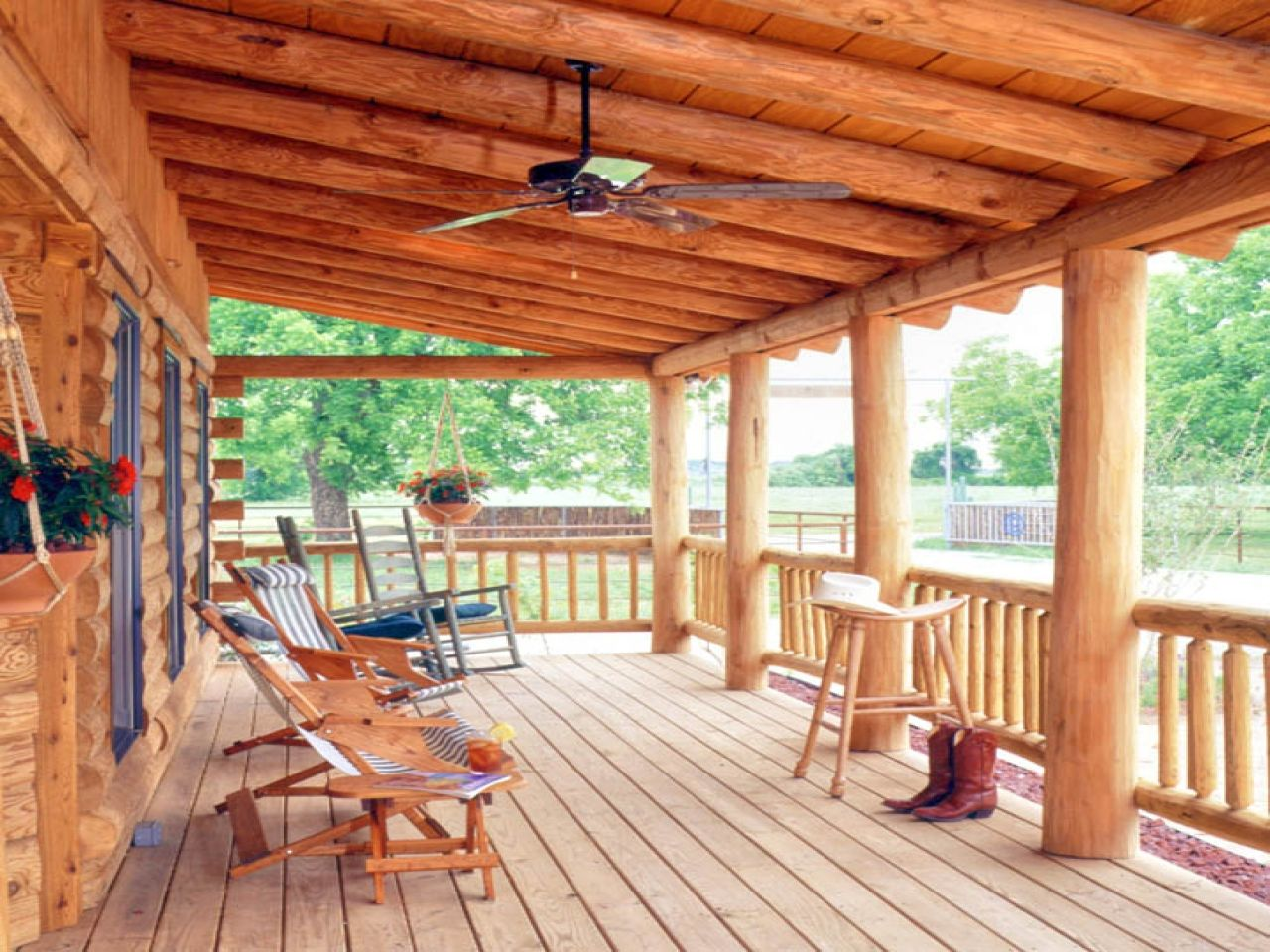 Log porch railing kits log cabin deck railing cabin decks for Log home decks