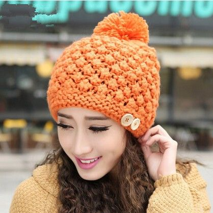 Knit beanie hat with ball on top for winter  1cd42930e5a