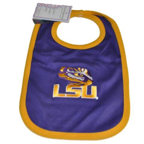 LSU Tigers Two Feet Ahead Infant Baby Newborn Purple Gold Tiger Eye Knit Bib