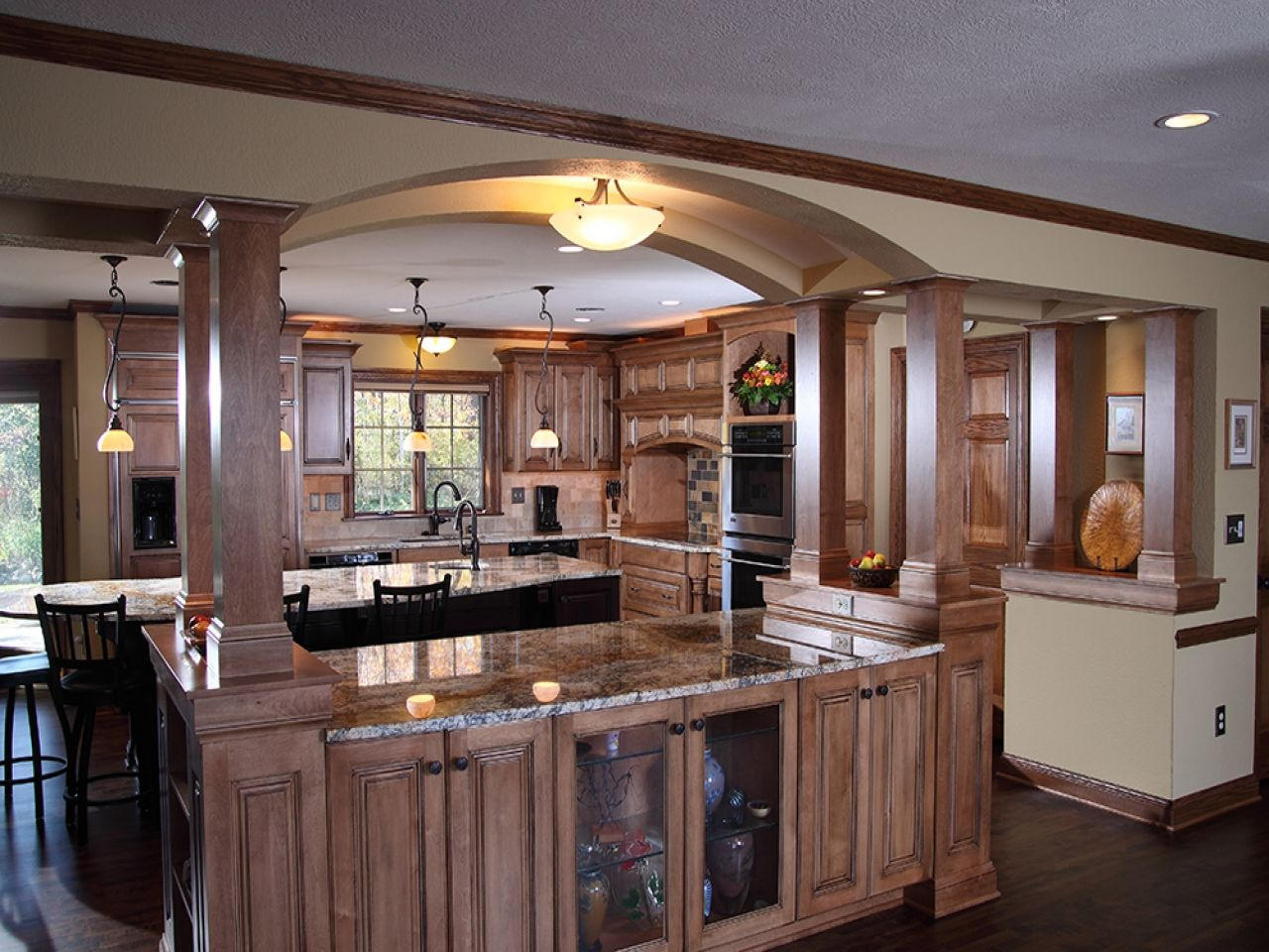 arch with attached kitchen island open shelves kitchen kitchen islands with columns and. Black Bedroom Furniture Sets. Home Design Ideas