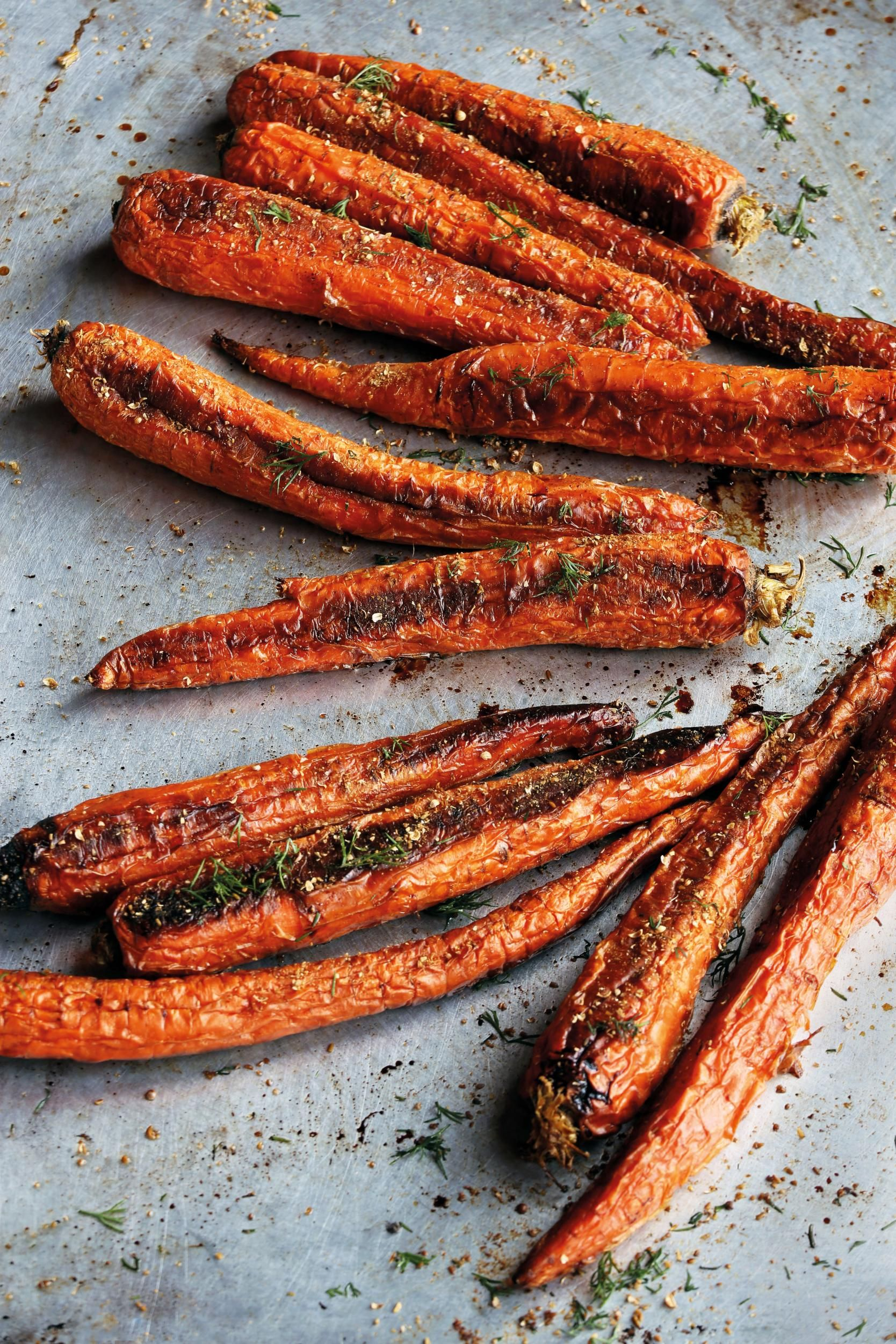 """Nancy Silverton's Whole Roasted Carrots with Cracked Coriander and Dill Creme Fraiche from """"Israel Eats"""" 