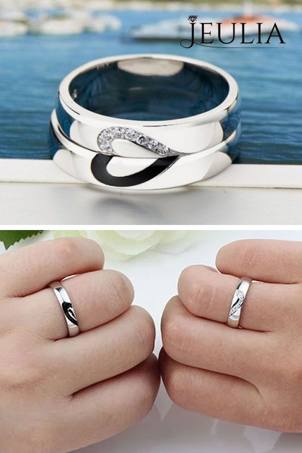 9814cdae69 Love Shape Sterling Silver Band Set in 2019 | Couple Rings | Rings ...