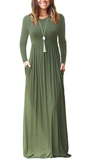 Damen Langarm Loose Plain Casual Lang Maxi Kleid mit ...