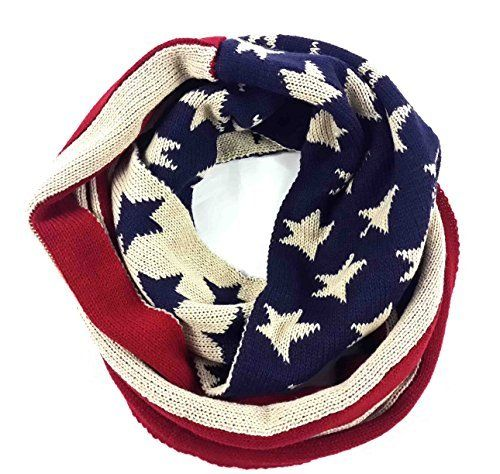 Lina Lily Patriotic American Usa Flag Knit Loop Infinit Stripe Infinity Scarf Knit Infinity Scarf Scarf