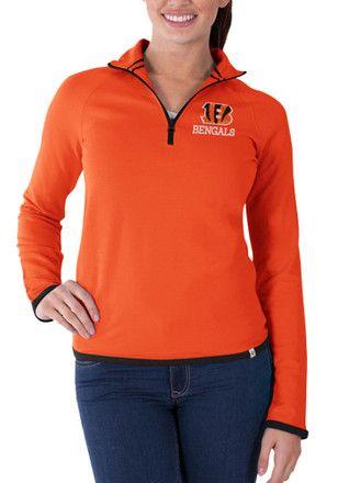 47 Cincinnati Bengals Womens Showdown Orange 1 4 Zip Pullover ... cc340e786725