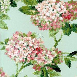 las hortensias son el de este papel pintado con sus colores blancos y rosas