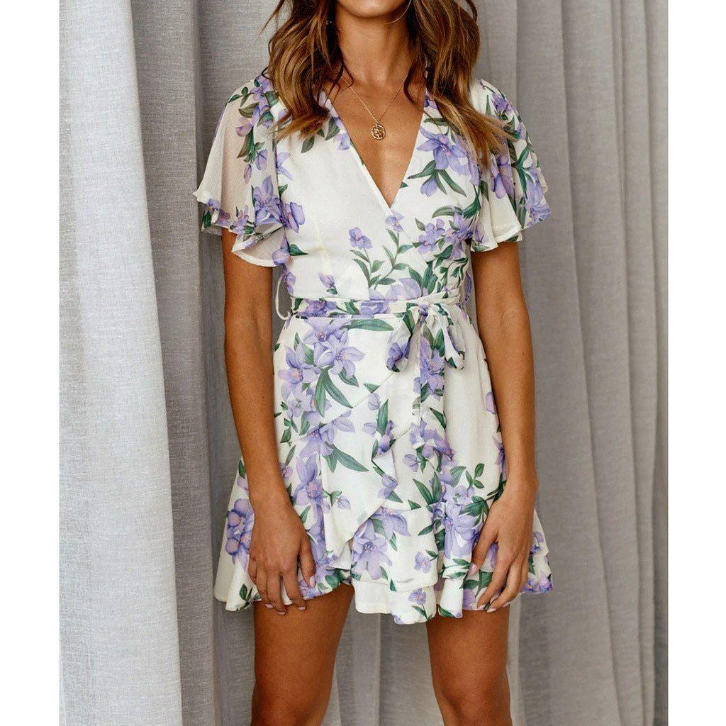 Women Fit Flare V Neck Floral Print Short Sleeve Mini Dress Short Sleeve Mini Dress Short Sleeve Dresses Mini Dress [ 1024 x 1024 Pixel ]