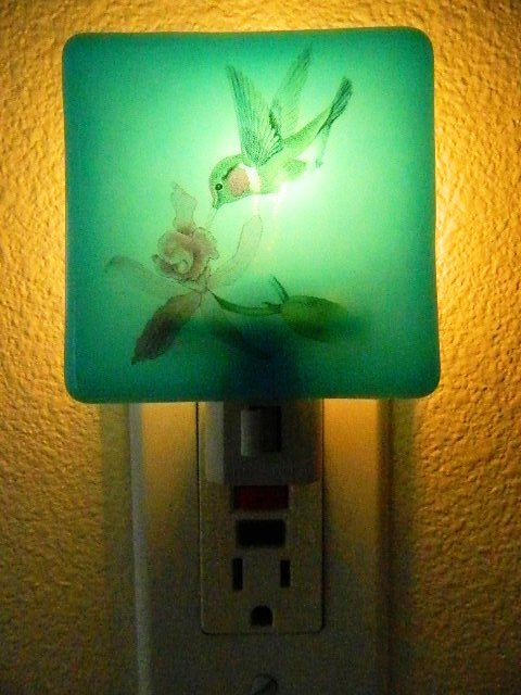 Fused Glass Night Light Humming Bird With Iris By FusedGlassRocks