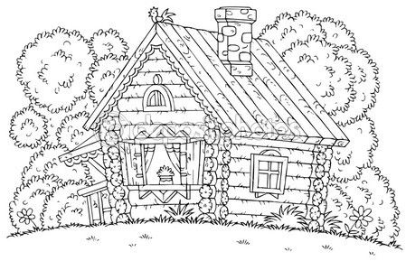 Coloring Page Outline Of A Chicken Atop A Log Cabin Coloring