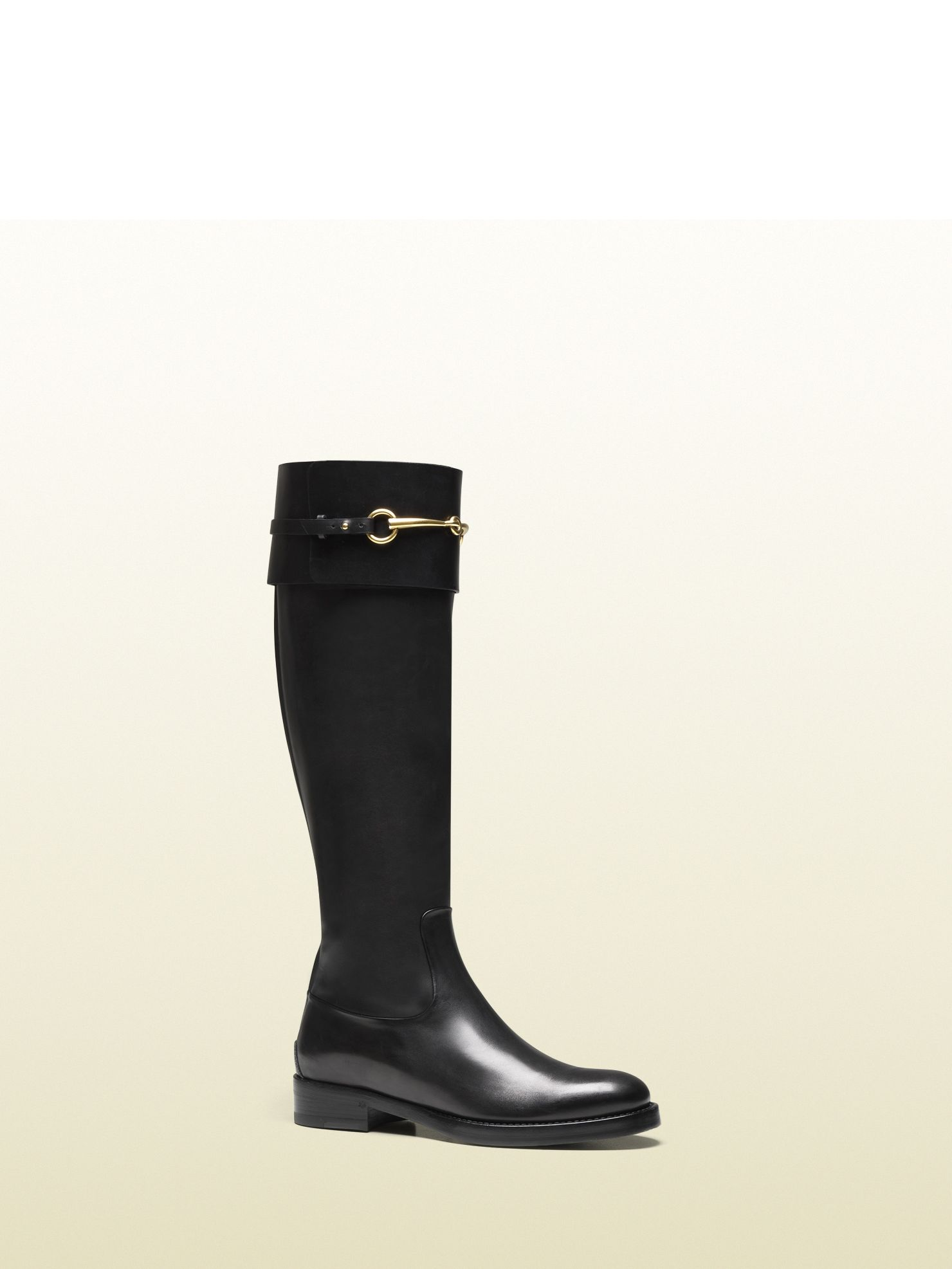 Gucci - 323491 BLM00 1000 - jamie black leather riding boot - black  leather Made in Italy metal gucci logo under the arch of the shoe  functional closure at ... ec5b3c5c7df6