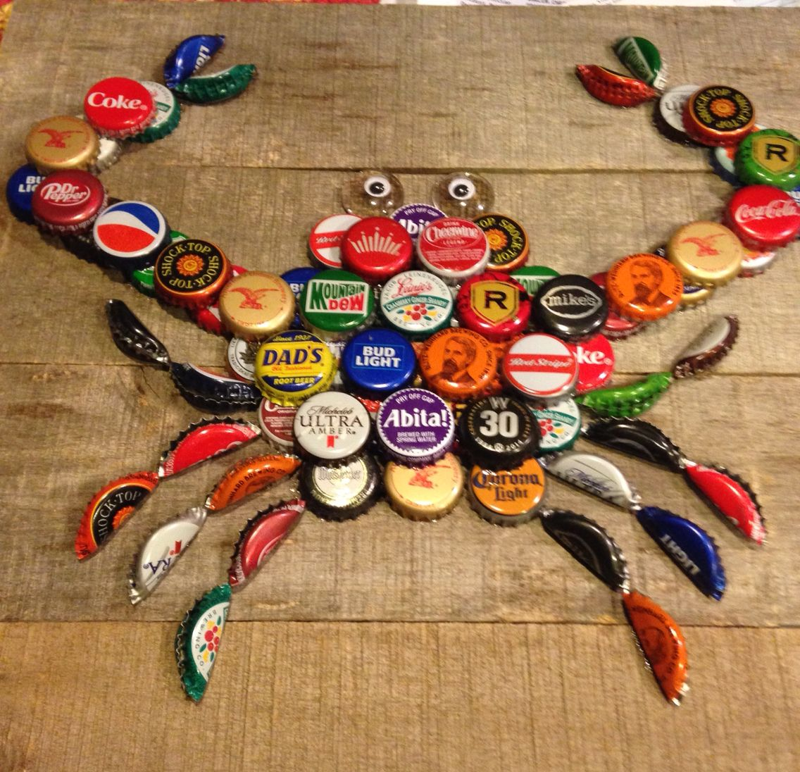 My bottle cap crab bottle caps pinterest cap bottle for What to make with beer bottle caps