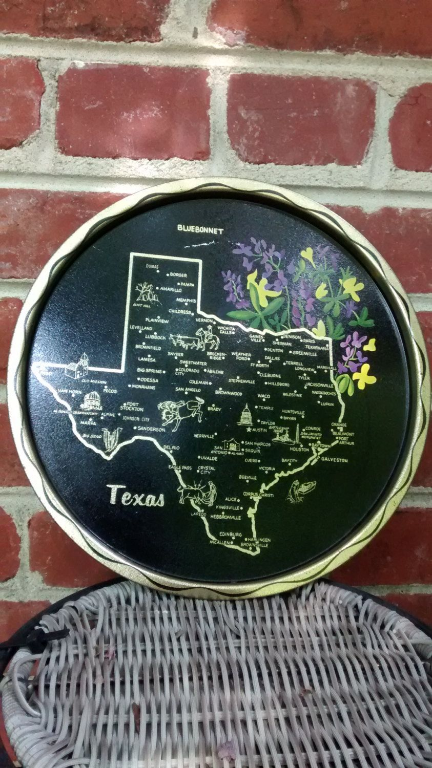 Vintage Texas map tray / black metal tray with Texas landmarks and state flower/ Texas home decor by HappyVintageStudio on Etsy