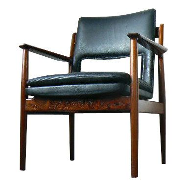 Arne Vodder; #341 Rosewood and Leather Armchair for Sibast, 1960s.