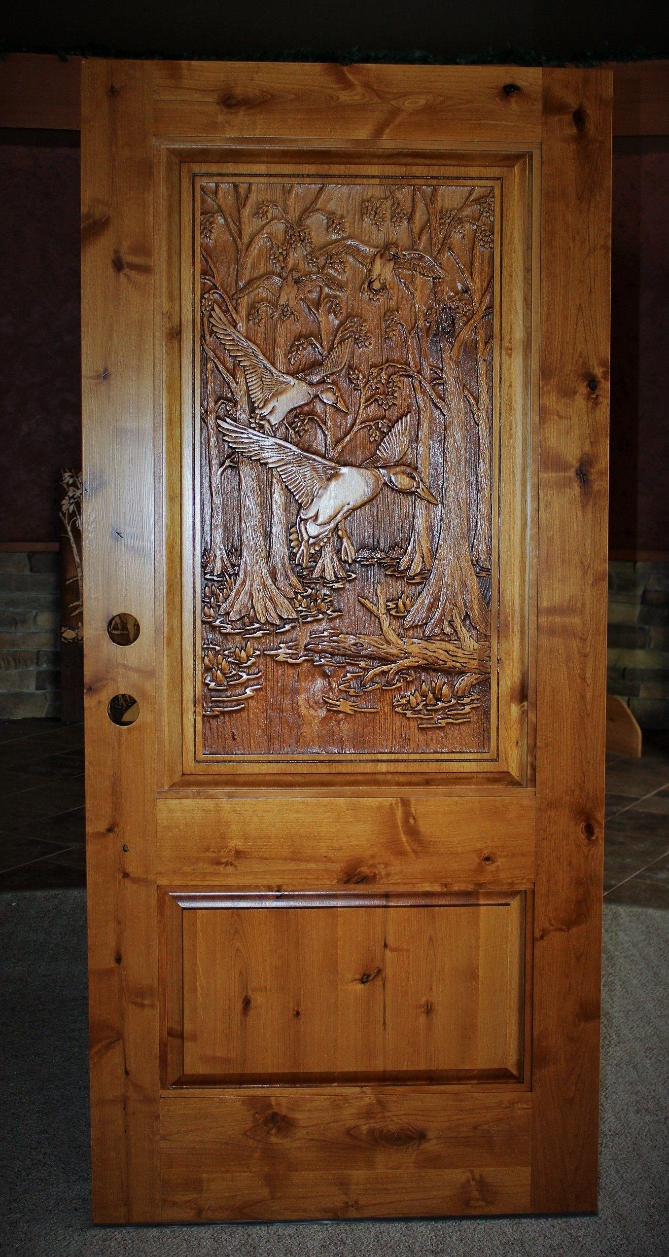 Alder Door With Mallards Amp Cypress Trees Rustic Doors