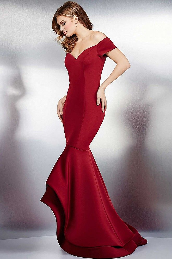 33042a3307a Off the shoulder high low simple mermaid fitted jersey wing evening dress  features high back and v neckline available in navy and black.