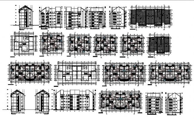 Architectural Plan Of Residential Apartment 21 15mtr X 14 55mtr With Section And Elevation In