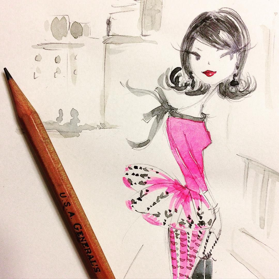 Thursday night sketch. #pink #fashion #sketch #winsorandnewton