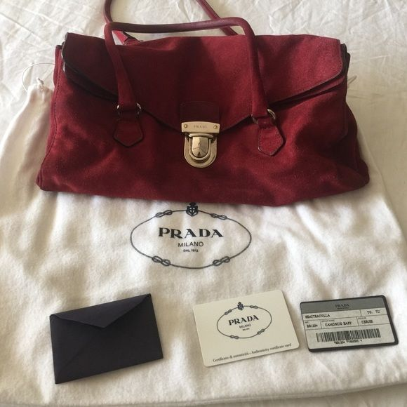 Reduced prada authentic burgundy Precious s perfect condition with ... 59528d00ff