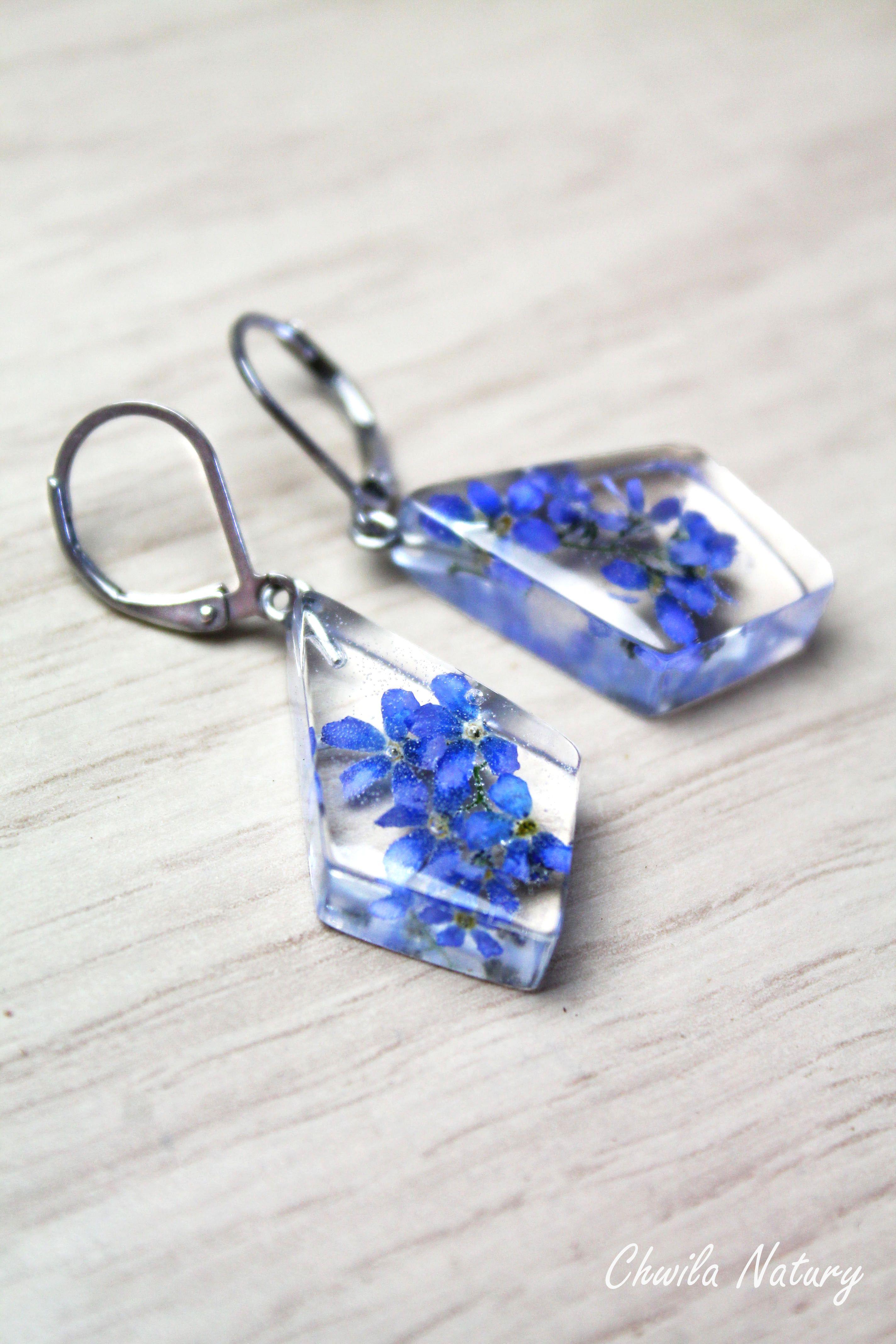 Bukiet Niezapominajek W Pieknych Kolczykach 3 Drop Earrings Jewelry Earrings
