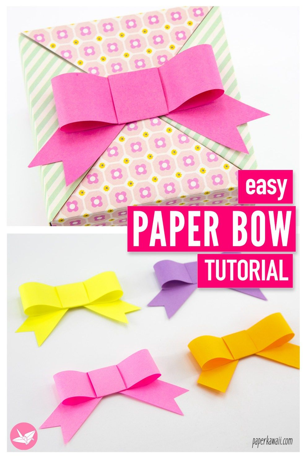 Easy Paper Bow Tutorial Paper Bows Tutorial Paper Bow Paper Bows Diy
