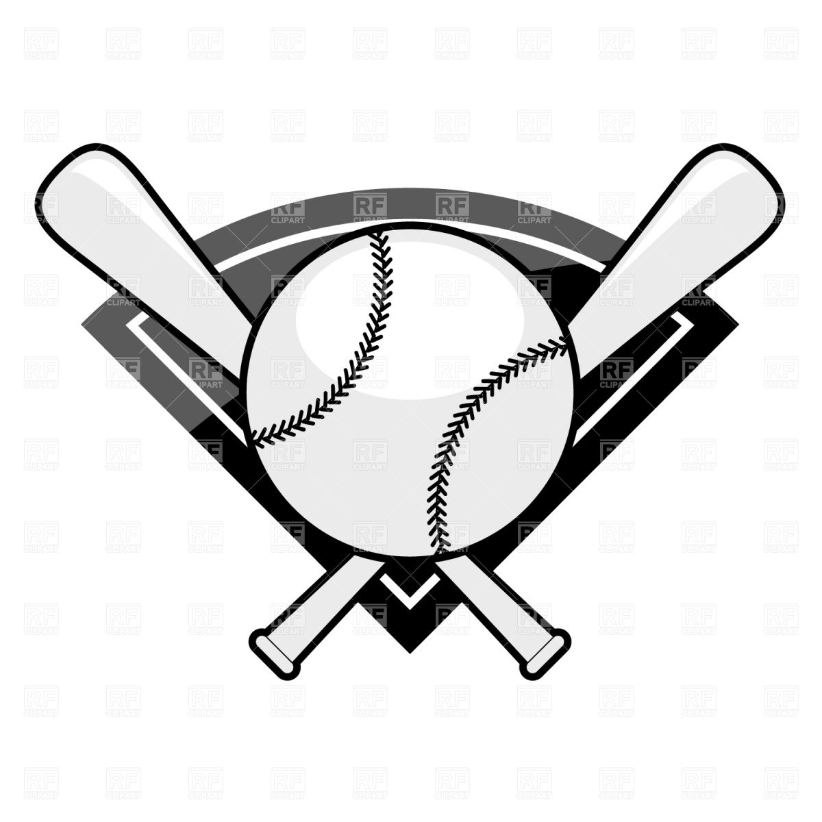 Download Royalty Free Baseball Emblem Bat And Ball Vector Image 1480 From Rfclipart Illustrations Vector Ar Vector Artwork Clipart Black And White Clip Art