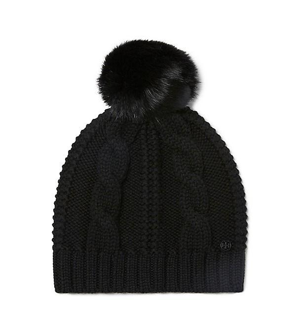 af7496c91c6 Tory Burch Large Cable-knit Pom-pom Hat