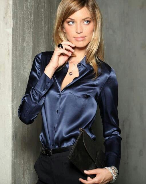 Mr M Satin Bluse Blue Top Silk