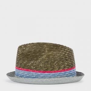 021b9446 Paul Smith Men's Khaki Contrasting Stripe Straw Trilby Hat | Modern ...
