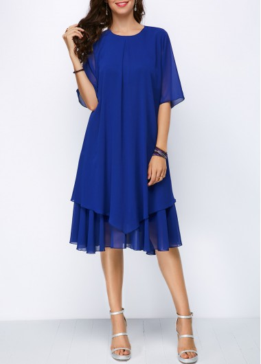 b0ccf6e5f97dc Round Neck Keyhole Back Half Sleeve Chiffon Dress on sale only US 37.26  now