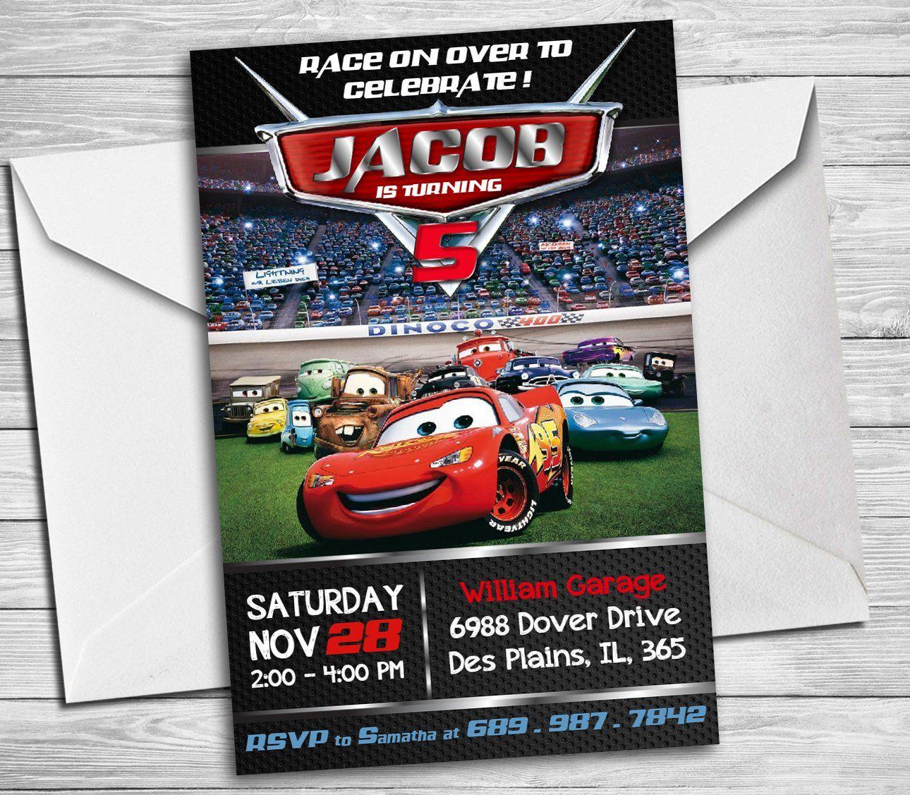 Cars Birthday Invitation, Disney Cars Party Invite, Cars Lightening ...