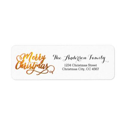 Simple Merry Christmas Gold Foil Label Return address