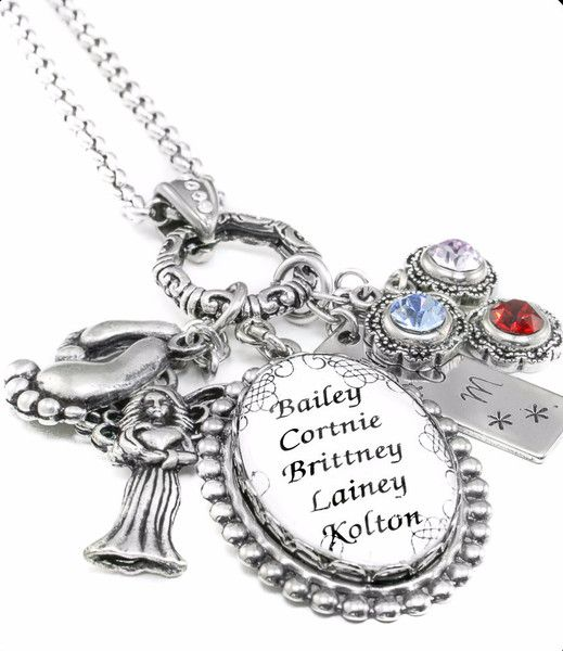 mothers necklace childrens names grandmother