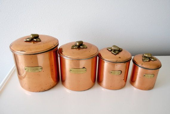 Vintage Copper Brass Storage Canisters / MetalUtil Kitchen Containers /  Nesting / Made In Portugal / Strawberry / Flour Sugar Tea Coffee