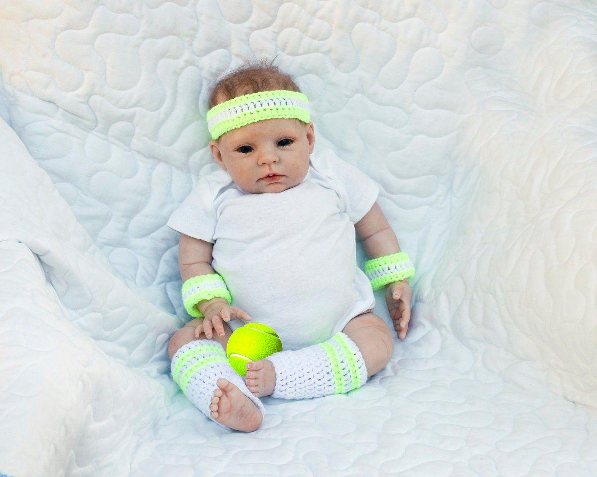 BABY TENNIS OUTFIT, Crochet Tennis Headband, Neon Baby Leg Warmers ...