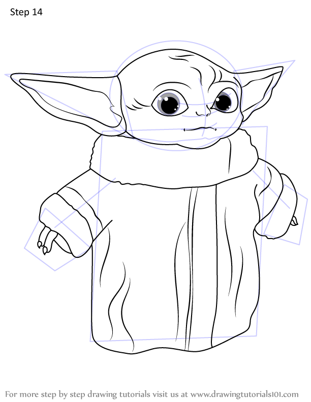 Learn How To Draw A Baby Yoda Star Wars Step By Step Drawing Tutorials In 2020 Yoda Drawing Star Wars Coloring Sheet Drawings